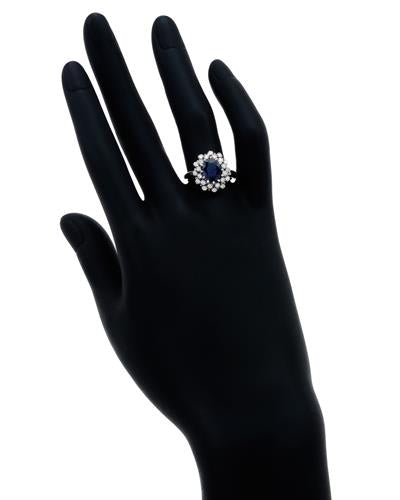 Brand New Ring with 2.85ctw of Precious Stones - diamond and sapphire 14K White gold