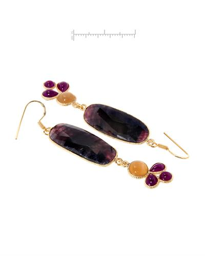 Brand New Earring with 50.51ctw of Precious Stones - moonstone, ruby, and sapphire 10K/925 Yellow Gold plated Silver