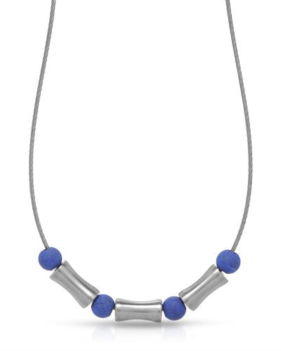 TeNo Brand New Necklace with 0ctw lapis lazuli  Metallic Stainless steel