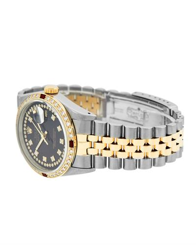 Rolex PreOwned Automatic date Watch with 1.3ctw of Precious Stones - diamond and ruby