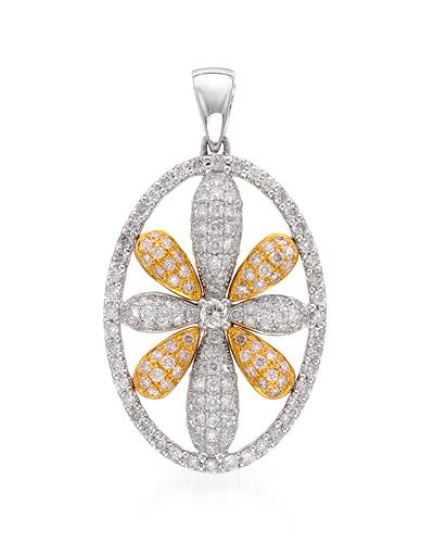 Brand New Pendant with 1.22ctw of Precious Stones - diamond and diamond 18K Two tone gold