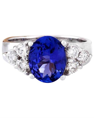 Brand New Ring with 3.01ctw of Precious Stones - diamond and tanzanite 14K White gold