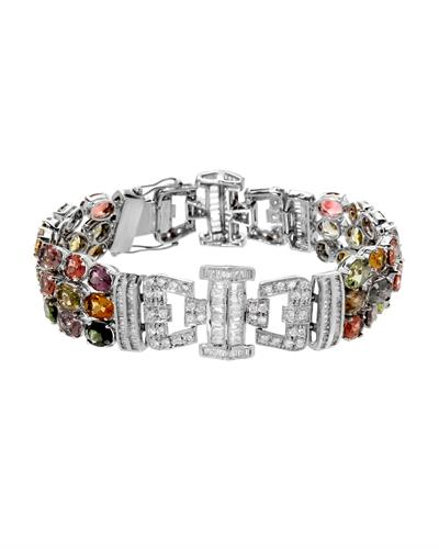 Brand New Bracelet with 41.65ctw of Precious Stones - cubic zirconia and tourmaline 925 Silver sterling silver