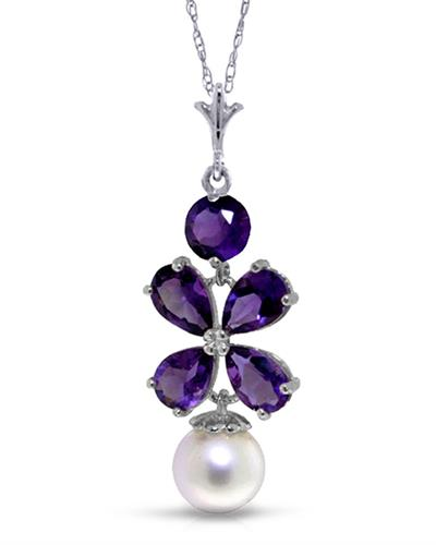 Magnolia Brand New Necklace with 3.15ctw of Precious Stones - amethyst and pearl 14K White gold
