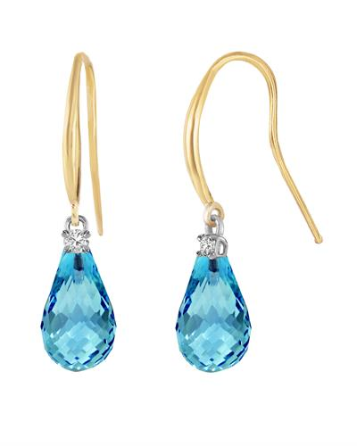 Magnolia Brand New Earring with 4.6ctw of Precious Stones - diamond and topaz 14K Yellow gold