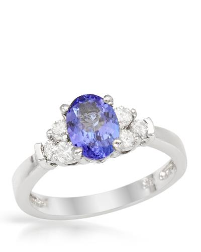 Brand New Ring with 1.1ctw of Precious Stones - diamond and tanzanite 14K White gold