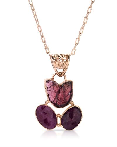 Brand New Necklace with 13.79ctw of Precious Stones - ruby and tourmaline 10K/925 Rose Gold plated Silver