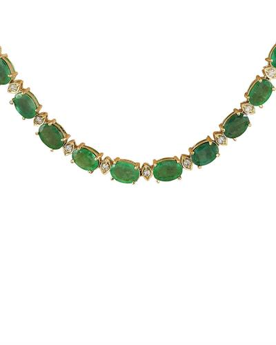 Brand New Necklace with 34.65ctw of Precious Stones - diamond and emerald 14K Yellow gold