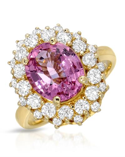 Brand New Ring with 4.87ctw of Precious Stones - diamond and spinel 14K Yellow gold