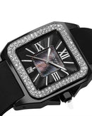 Akribos XXIV AK546BK Brand New Quartz date Watch with 0ctw of Precious Stones - crystal and mother of pearl