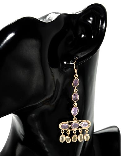 Brand New Earring with 12.7ctw of Precious Stones - amethyst and citrine 10K/925 Yellow Gold plated Silver