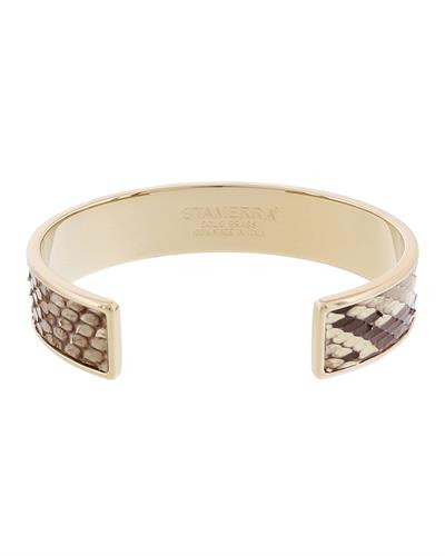 Stamerra MEMAN PITTONE BG Brand New Bracelet  Gold brass and  Beige Genuine Python Leather