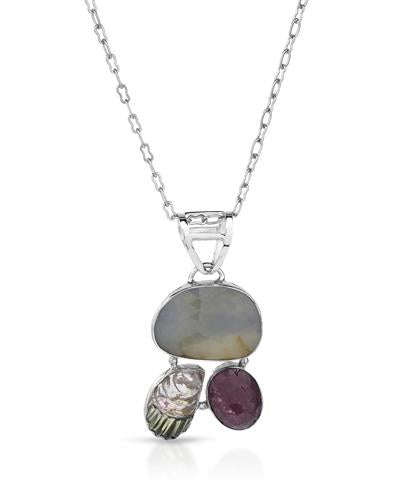 Brand New Necklace with 19.86ctw of Precious Stones - sapphire and tourmaline 925 Silver sterling silver