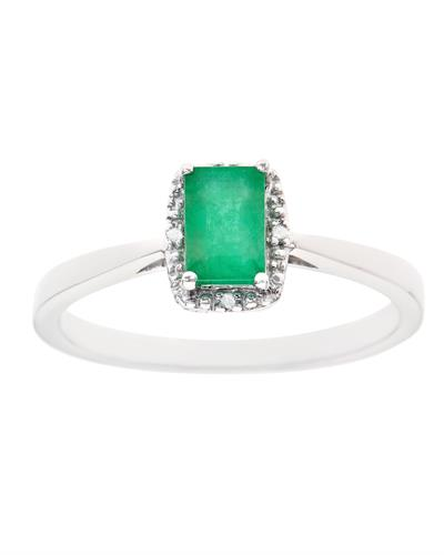 Brand New Ring with 0.56ctw of Precious Stones - diamond and emerald 925 Silver sterling silver