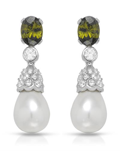 Brand New Earring with 0ctw of Precious Stones - cubic zirconia and faux pearl 925 Silver sterling silver