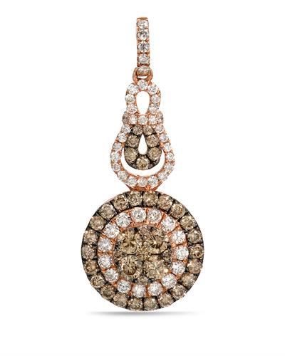 Brand New Pendant with 1.37ctw of Precious Stones - diamond and diamond 14K Rose gold