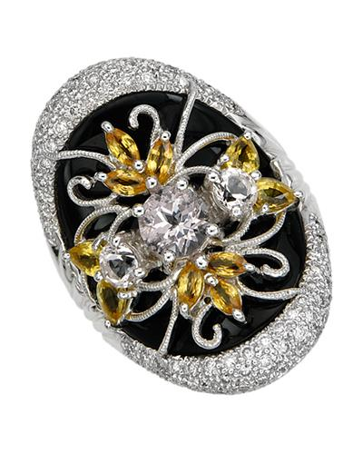 Brand New Ring with 3.71ctw of Precious Stones - diamond, morganite, onyx, and sapphire 18K White gold
