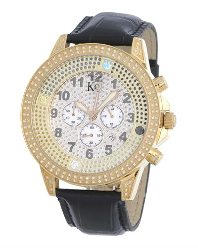Techno Com by KC Brand New Japan Quartz date Watch with 0.75ctw of Precious Stones - crystal, diamond, and mother of pearl