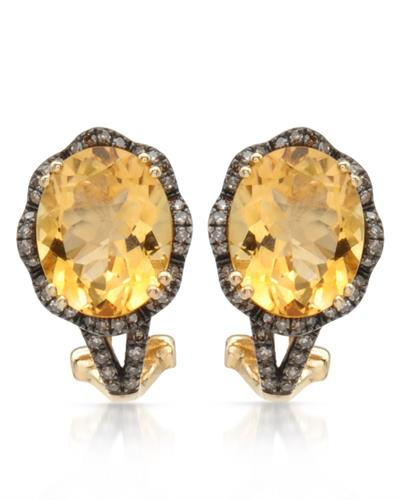 Brand New Earring with 4.6ctw of Precious Stones - citrine and diamond 14K Yellow gold