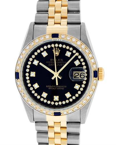 Rolex PreOwned Automatic date Watch with 1.3ctw of Precious Stones - diamond and sapphire