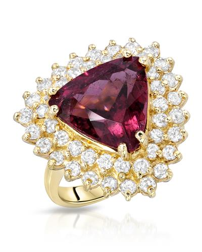 Brand New Ring with 7.61ctw of Precious Stones - diamond and Rubellite 14K Yellow gold