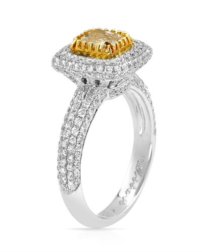 Brand New Ring with 2.35ctw of Precious Stones - diamond and diamond 18K Two tone gold