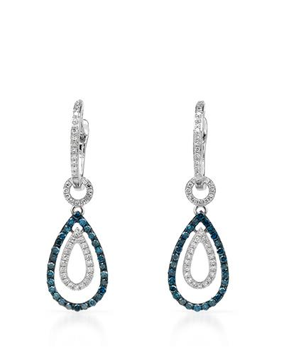 Brand New Earring with 0.61ctw of Precious Stones - diamond and diamond 14K White gold