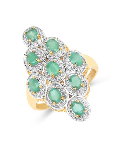 Brand New Ring with 1.26ctw emerald 14K/925 Yellow Gold plated Silver
