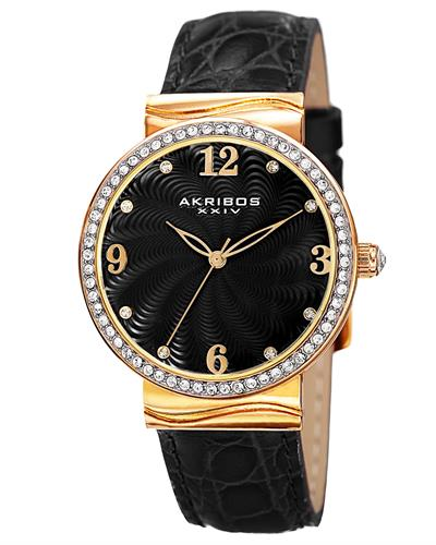 Akribos XXIV AK829BKG Brand New Japan Quartz Watch with 0ctw crystal