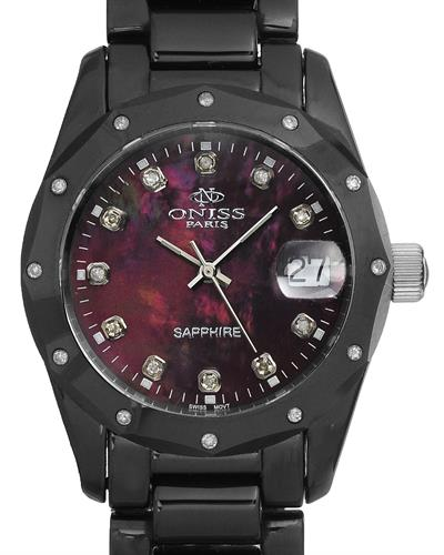 Oniss ON601-L Paris Brand New Swiss Quartz date Watch with 0.19ctw of Precious Stones - diamond and mother of pearl