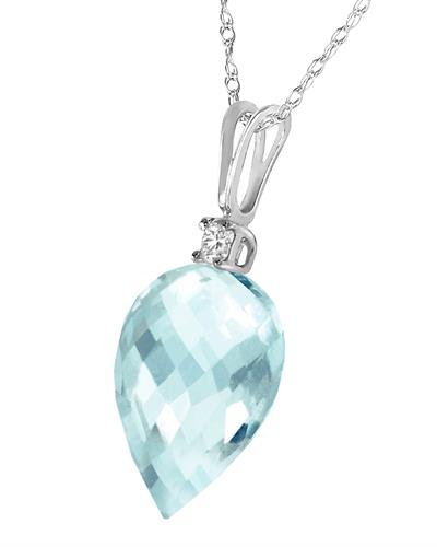 Magnolia Brand New Necklace with 11.05ctw of Precious Stones - diamond and topaz 14K White gold