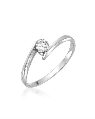 Julius Rappoport Brand New Ring with 0.25ctw diamond 14K White gold