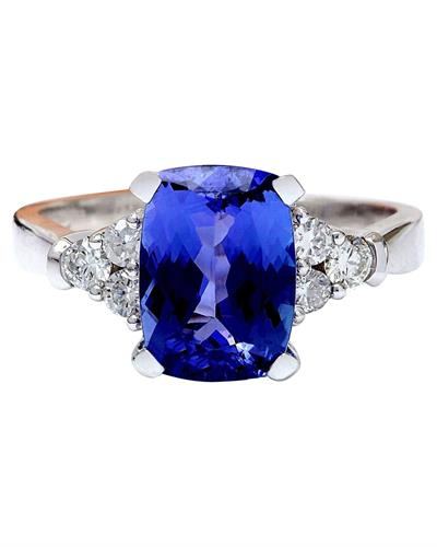 Brand New Ring with 3.49ctw of Precious Stones - diamond and tanzanite 14K White gold