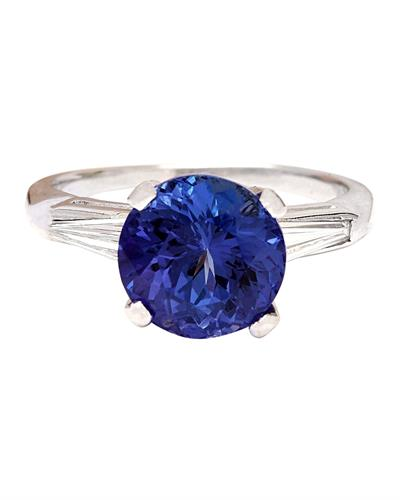 Brand New Ring with 4ctw of Precious Stones - diamond and tanzanite 14K White gold