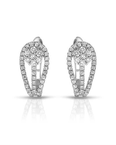 Julius Rappoport Brand New Earring with 0.56ctw diamond 18K White gold