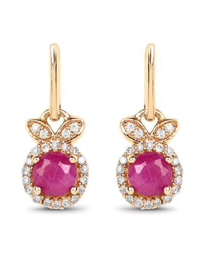 Brand New Earring with 0.73ctw of Precious Stones - diamond and ruby 14K Yellow gold