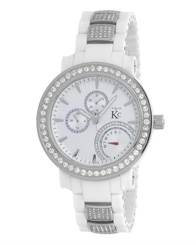 Techno Com by KC Brand New Japan Quartz day date Watch with 3ctw of Precious Stones - crystal and diamond