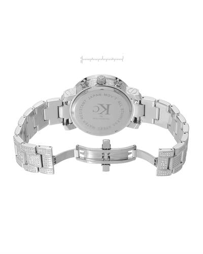 Techno Com by KC WA004569 Brand New Japan Quartz date Watch with 6ctw of Precious Stones - diamond and mother of pearl