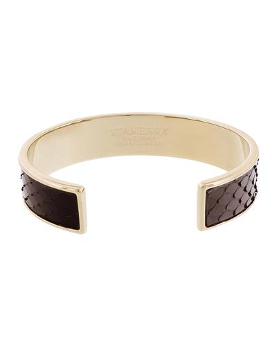 Stamerra MEMAN PITTONE NR Brand New Bracelet  Gold brass and  Black Genuine Python Leather