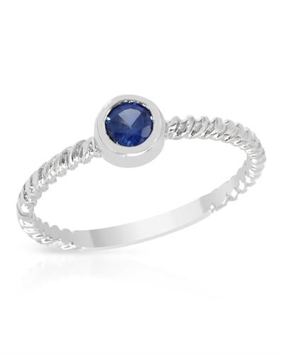 Brand New Ring with 0.65ctw sapphire 14K White gold