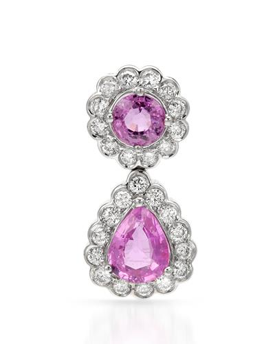 Brand New Pendant with 2.24ctw of Precious Stones - diamond and sapphire 14K White gold