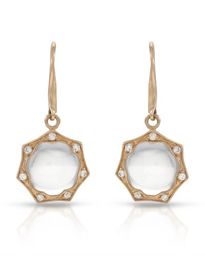 Brand New Earring with 0.16ctw of Precious Stones - diamond and quartz 14K Rose gold