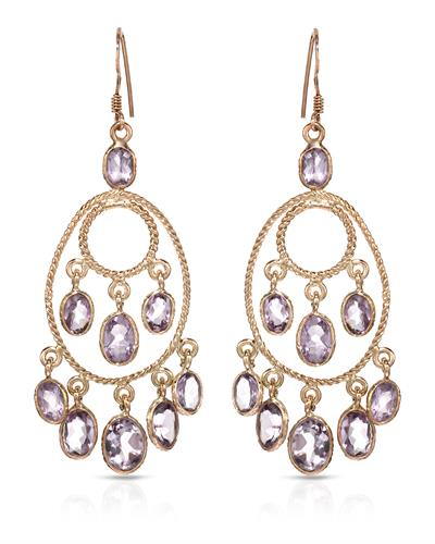 Brand New Earring with 9.5ctw amethyst 10K/925 Yellow Gold plated Silver