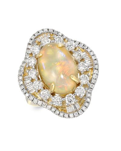 Julius Rappoport Brand New Ring with 6.03ctw of Precious Stones - diamond, diamond, and opal 18K Yellow gold