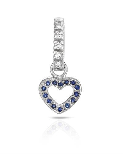 Brand New Pendant with 0.35ctw of Precious Stones - diamond and sapphire 18K White gold