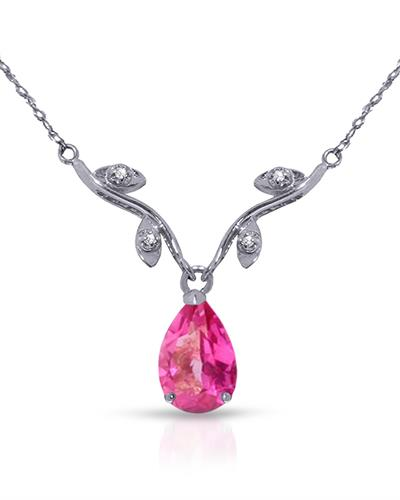 Magnolia Brand New Necklace with 1.52ctw of Precious Stones - diamond and topaz 14K White gold