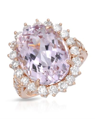 Brand New Ring with 12.45ctw of Precious Stones - diamond and kunzite 14K Rose gold