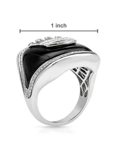 Brand New Ring with 19.23ctw of Precious Stones - diamond and onyx 14K White gold