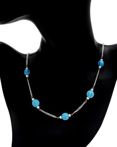 PEARL LUSTRE Brand New Necklace with 0ctw of Precious Stones - pearl and turquoise 14K White gold