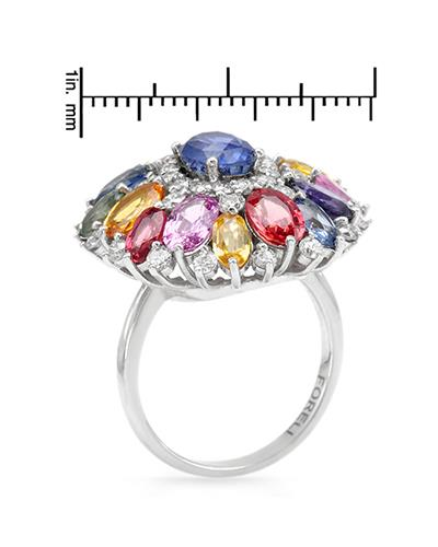 Brand New Ring with 9.68ctw of Precious Stones - diamond, sapphire, and sapphire 14K White gold